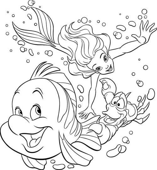 Ariel free coloring pages
