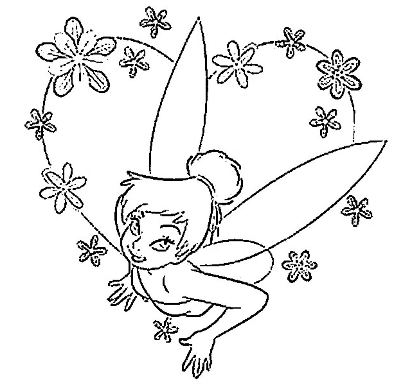 Coloring Tinkerbell pink flowers – Disney Princess Coloring ...
